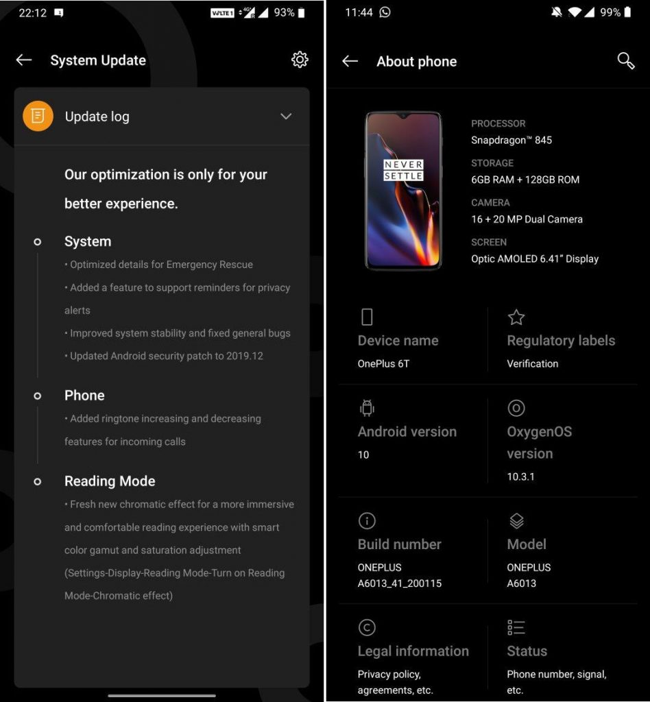 OnePlus 6 And 6T OxygenOS 10.3.1 Update Brings Multiple