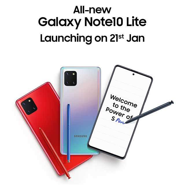 Samsung Galaxy Note10 Lite launching in India on January 21