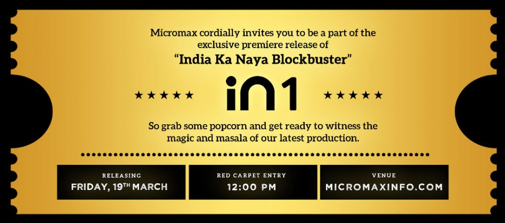 Micromax invites for IN 1 Smartphone Launch on March 19
