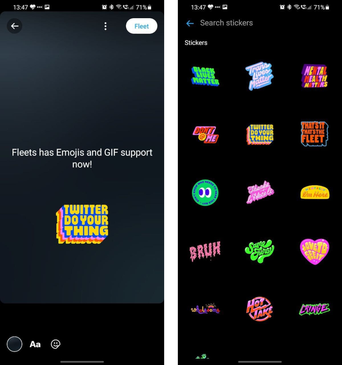 Twitter Fleets get support for Stickers